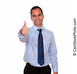 Smiling latin man looking and showing you ok sign - Portrait...
