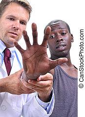 musculoskeletal, médico, exame, mão