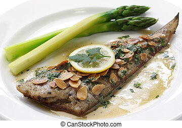 sole meuniere with almond sauce