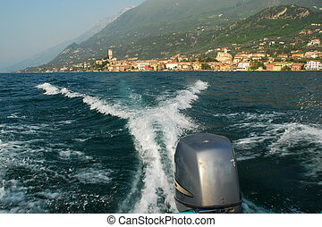 Action Speedboating on Lake Garda - Rear view from a...