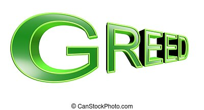 greed text in 3d green over white