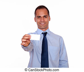 Businessman holding a white card with copyspace