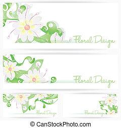 Flower vector background brochure. Floral cards set, vector...