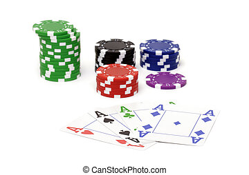 Set of poker chips and cards
