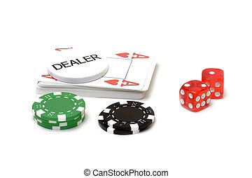 Set of poker chips, cards and dices on white