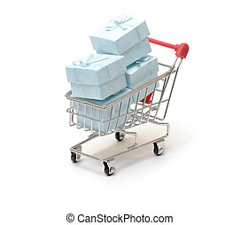 Shopping cart with cyan gift boxes