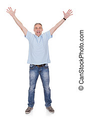 Excited Man - Mature Man Raising His Hands Over White...