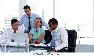 Businesswoman explaining something