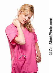Nurse with neck pain - Blond lady nurse healthcare worker...