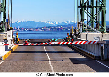 Bainbridge Island Ferry Dock Gate Puget Sound Seattle...