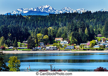 Poulsbo Bainbridge Island Puget Sound Snow Mountains Olympic...