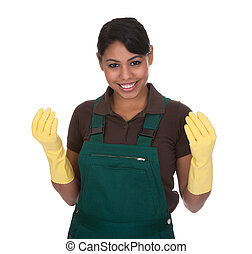 Young Female Gardner Wearing Gloves Over White Background