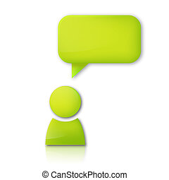 Person with speech bubble. Green vector icon