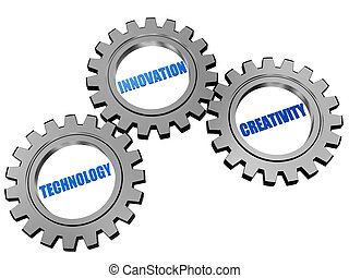 technology, innovation, creativity in silver grey gears -...
