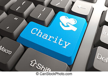 Keyboard with Charity Button - Blue Charity Button on...