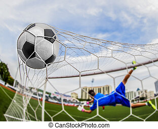 soccer ball in goal with loss goalmam