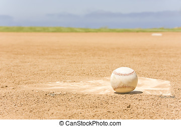 Baseball and home plate - Closeup of empty playing field...