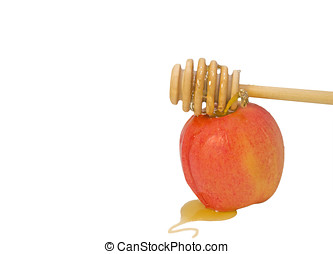 Honey stick and apple for Rosh Hashana, room for text -...