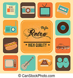 style retro over cream background vector illustration