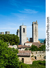 Towers of San Gimignano, Toscana landmark - San Gimignano is...