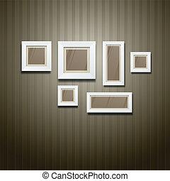 White frame on wallpaper background, vector illustration