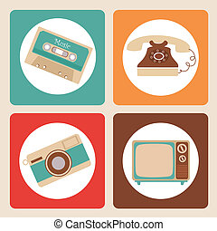 old icons design - old design over pink background vector...