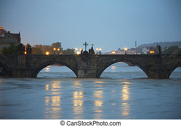 Flood - Charles Bridge - Flood in Prague, Czech Republic