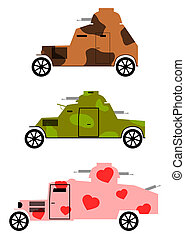 Armoured cars - Vintage armoured cars set.