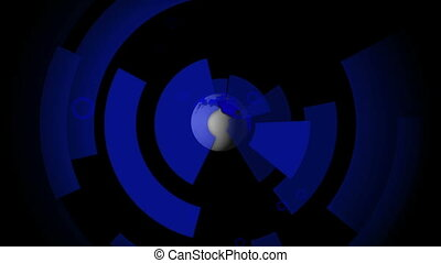 Earth spinning with blue cells emulating from it on black...