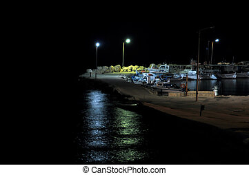 pier and boats at night - Empty pier and boats dark night...