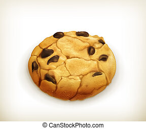 Chocolate cookie, vector icon