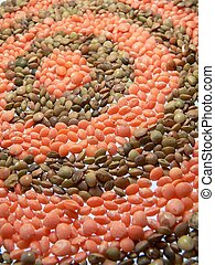 lentils - circles of diffenet colors lentils