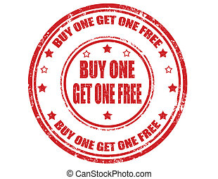 Buy one get one free-stamp - Grunge rubber stamp with text...