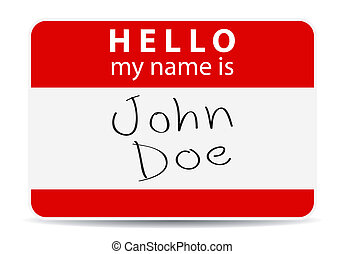 red tag my name is, John Doe