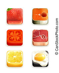 Food app icons vector set