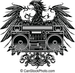 Heraldry style eagle with boombox - Heraldry style eagle...