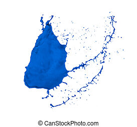 paint splash - blue paint splash isolated on white...