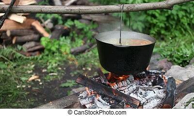 Boiling bonfire pot  - Bonfire pot with boiling soup