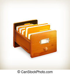 Open card catalog, vector