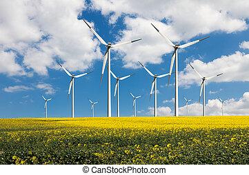 Eco, potencia, viento, turbinas