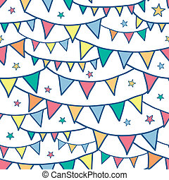 Colorful doodle bunting flags seamless pattern background -...