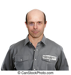 Portrait of a criminal in prison on a white background