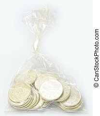 Saudi Riyals Silver Case Isolated with A white background