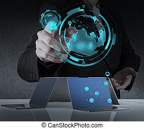 businessman working with new modern computer show social...