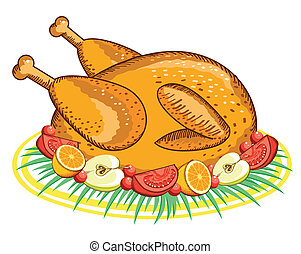 Thanksgiving Turkey Vector food isolated on white for design...