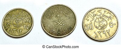 Metal old coins front and back Currency metal category Saudi...