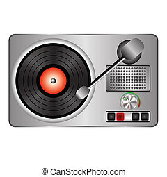 record player - colorful illustration with record player for...