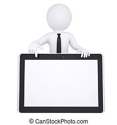 3d white man points a finger at a tablet PC Isolated render...
