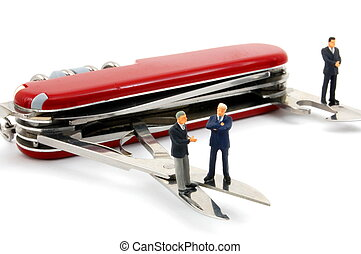 business people on penknife isolated on white background