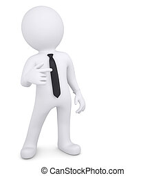 3d man points his finger in side - 3d white man points his...